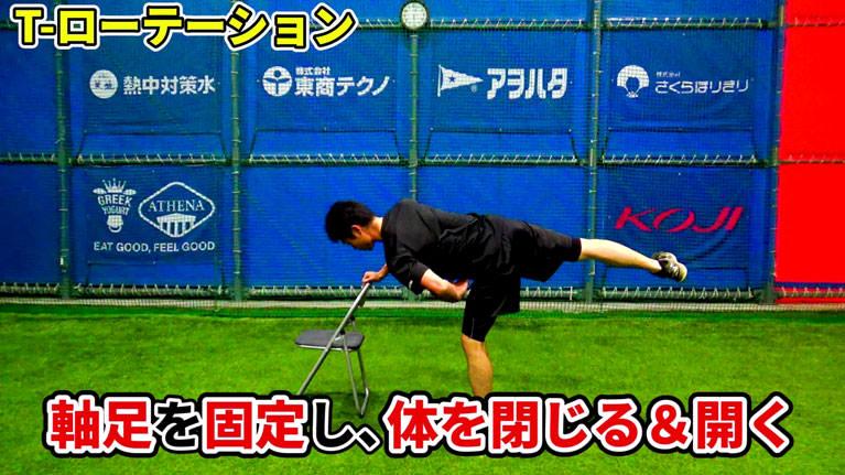 軸足の股関節を起点に、身体を外側に大きく開く、内側に絞るように閉じる動きを繰り返します