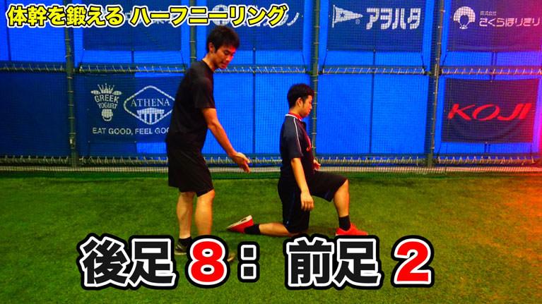 後足:前足=8:2の重心比率になるようにイメージして行います