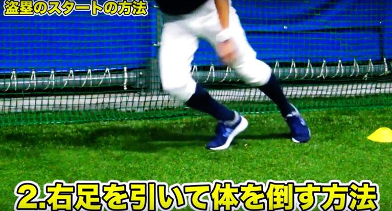 2-2. 右足を引いて体を倒すスタート