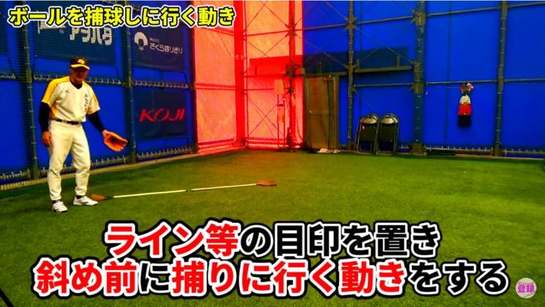 左側に斜め前にラインを引き、左側のボールを投げてもらいます