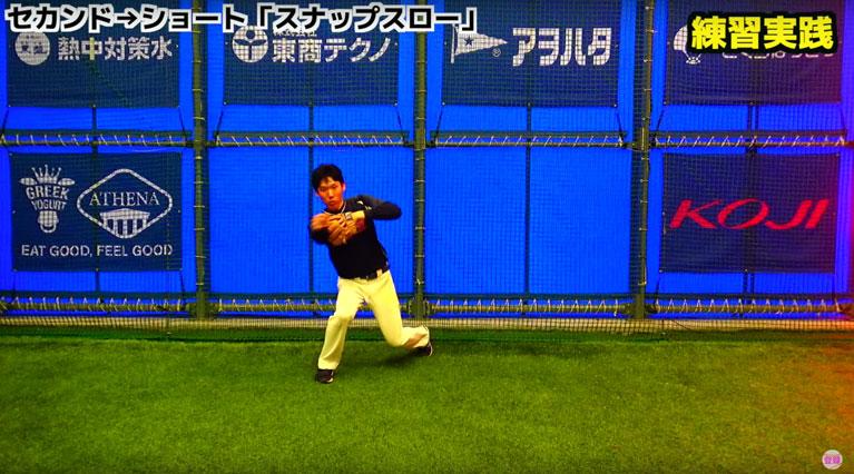 よりすばやく送球を行うためには膝をつかないで行います