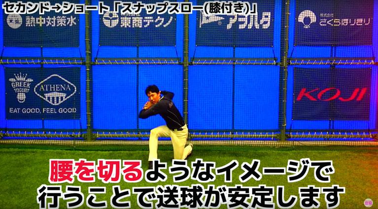 腰を切るようなイメージで行うと送球が安定する