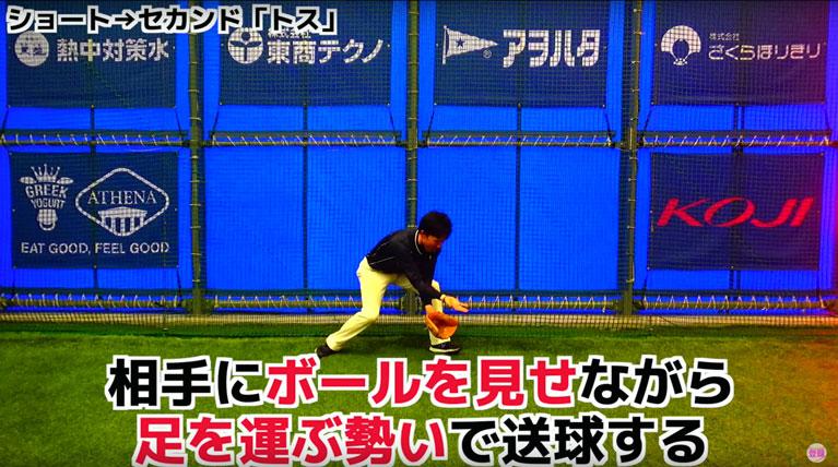 相手にボールを見せながら、足を運ぶ勢いで送球する