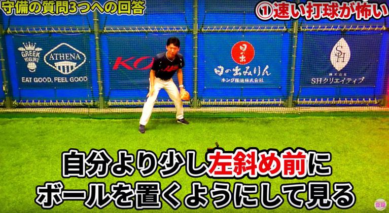 半身で捕球姿勢に入り、正面を外して打球を見るようにする