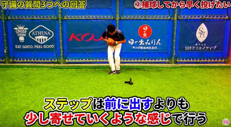 捕球後に軸足を素早くステップ足側に寄せる